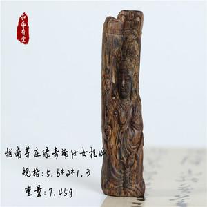 【和风香堂】越南芽庄莺歌绿奇楠雕刻仕女挂件保真